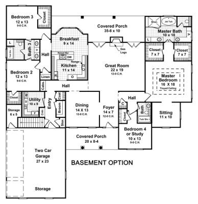 Sloping walkout basement house plans unique house plans Single floor house plans with basement